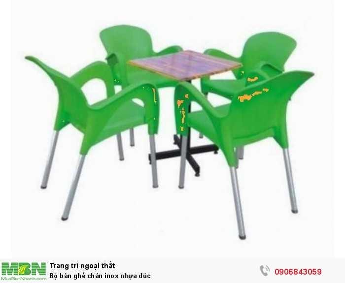 Bộ bàn ghế chân inox nhựa đúc0