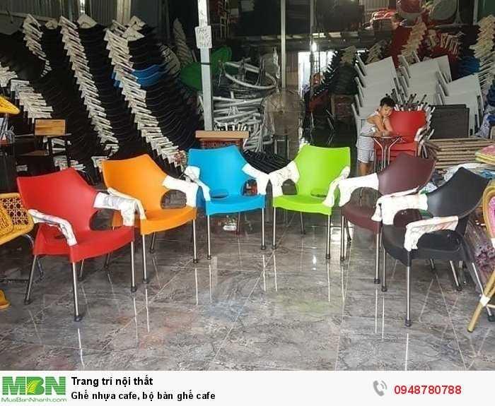 Ghế nhựa cafe, bộ bàn ghế cafe0