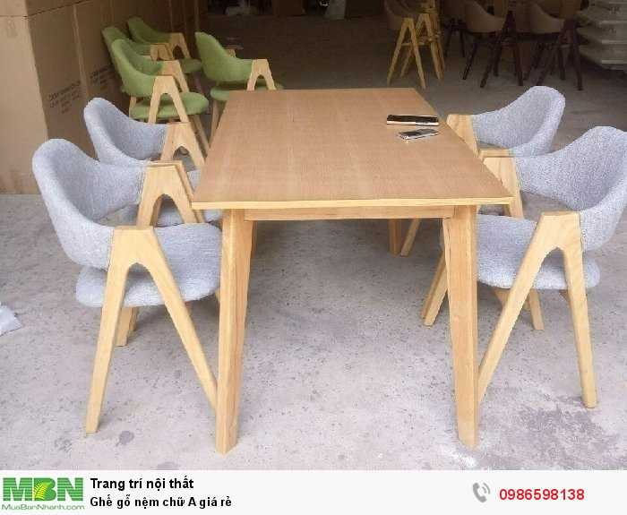 Ghế gỗ nệm chữ A giá rẻ2