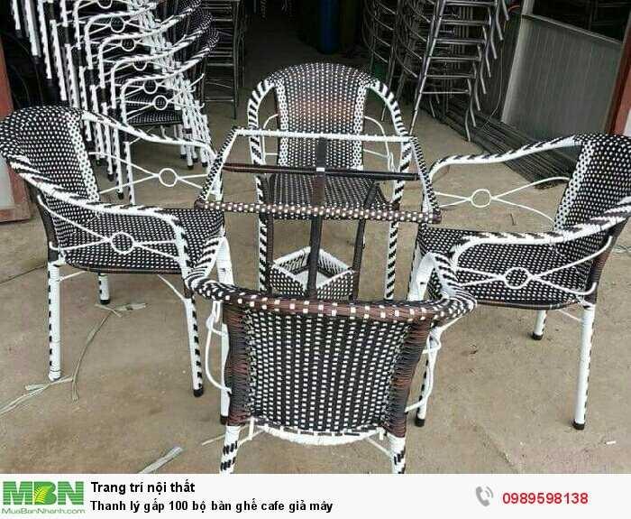 Thanh lý gấp 100 bộ bàn ghế cafe giả mây0