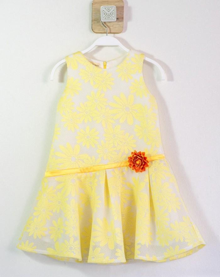 Đầm tùng xòe ren hoa cúc vàng tươi đính bông bên eo cho bé gái HIKARI-20