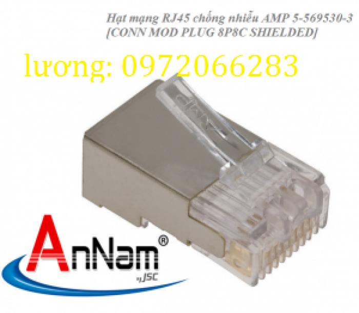 Hạt mạng Sắt AMP chống nhiễu Shielded 8 Position Modular Plug mã 5-569530-31