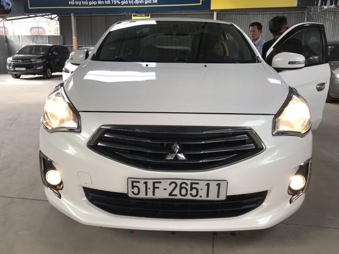 Bán Mitsubishi Attrage 1.2AT màu trắng số tự động nhập Thái Lan 2014 biển Sài Gòn đi 68000km