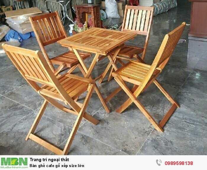 Bàn ghế cafe gỗ xếp size lớn0