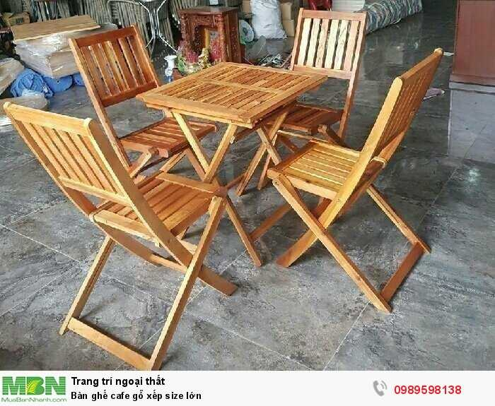 Bàn ghế cafe gỗ xếp size lớn1