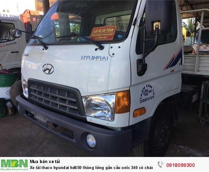 Xe tải thaco hyundai hd650 thùng lửng gắn cẩu unic 340 có chân sau 0