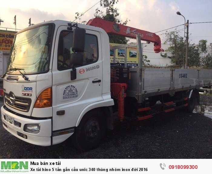 Xe tải hino 5 tấn gắn cẩu unic 340 thùng nhôm inox đời 2016