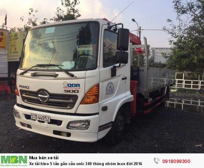 Xe tải hino 5 tấn gắn cẩu unic 340 thùng nhôm inox đời 2016 2