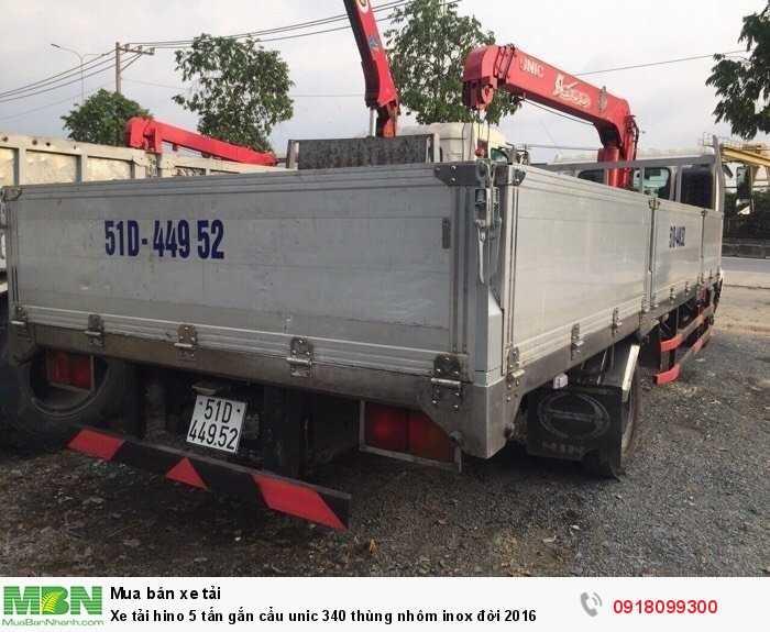 Xe tải hino 5 tấn gắn cẩu unic 340 thùng nhôm inox đời 2016 4