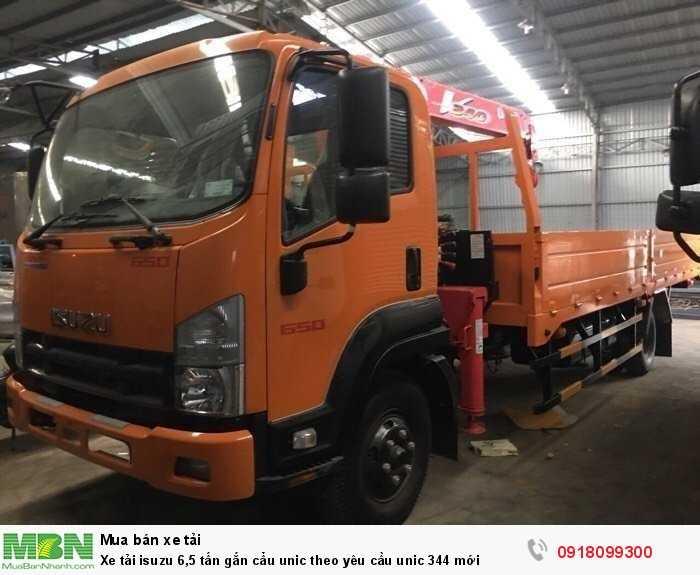 Xe tải isuzu 6,5 tấn gắn cẩu unic theo yêu cầu unic 344 mới
