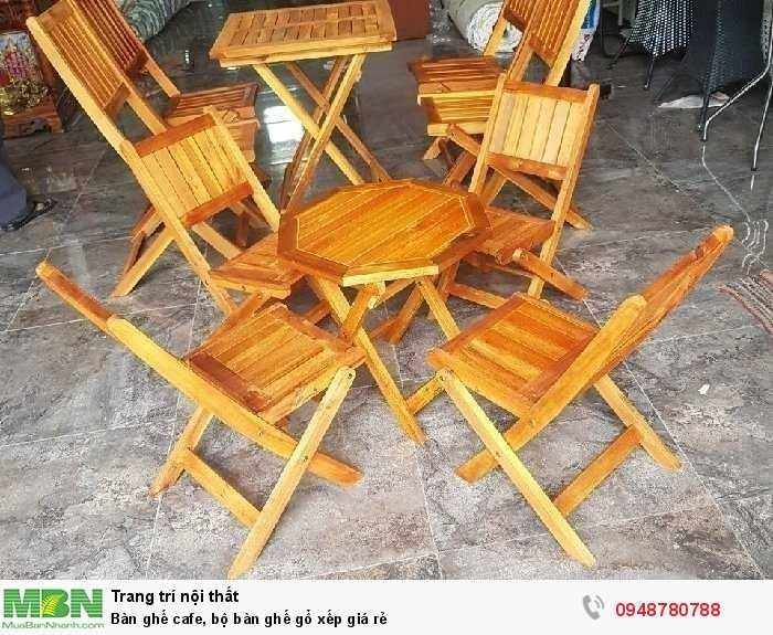Bàn ghế cafe, bộ bàn ghế gổ xếp giá rẻ0