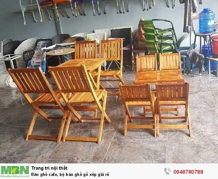 Bàn ghế cafe, bộ bàn ghế gổ xếp giá rẻ1