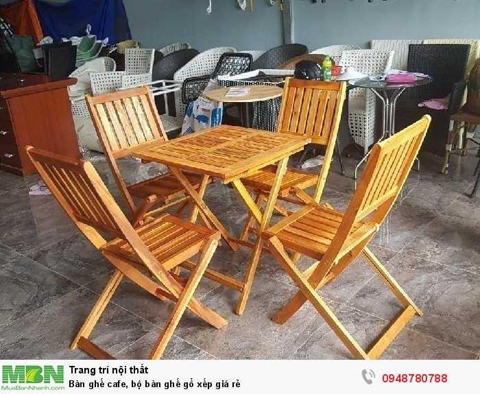 Bàn ghế cafe, bộ bàn ghế gổ xếp giá rẻ2