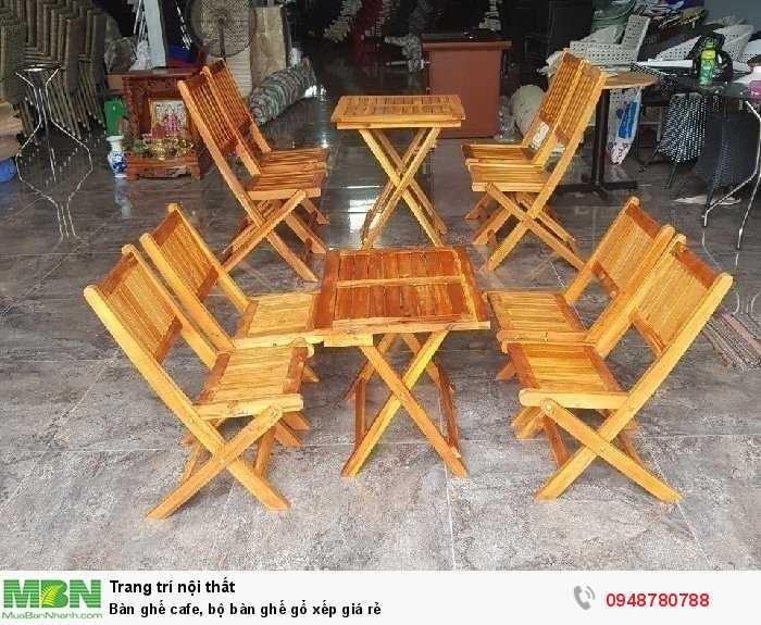 Bàn ghế cafe, bộ bàn ghế gổ xếp giá rẻ3