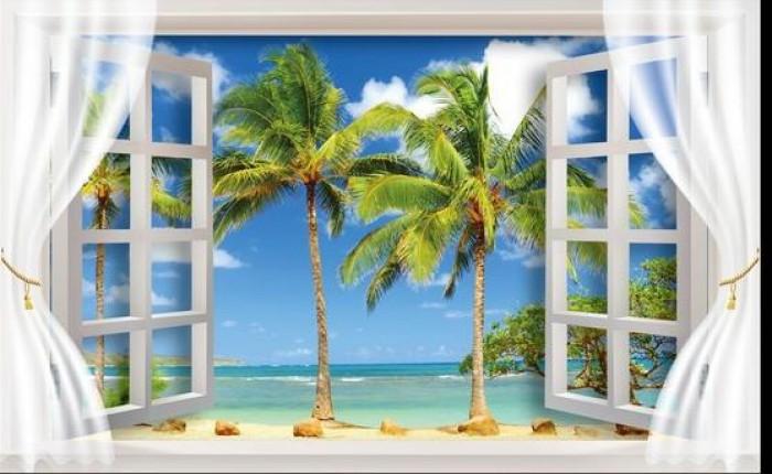 Tranh 3d hình cửa sổ- gạch tranh 3d10