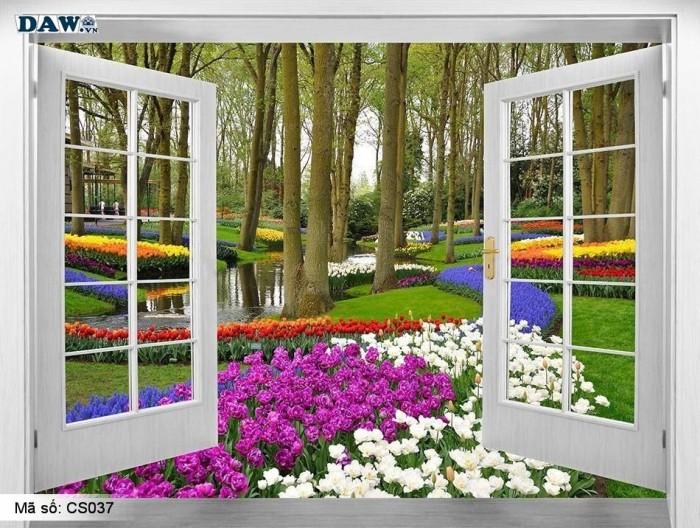 Tranh 3d hình cửa sổ- gạch tranh 3d6