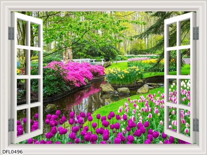 Tranh 3d hình cửa sổ- gạch tranh 3d1
