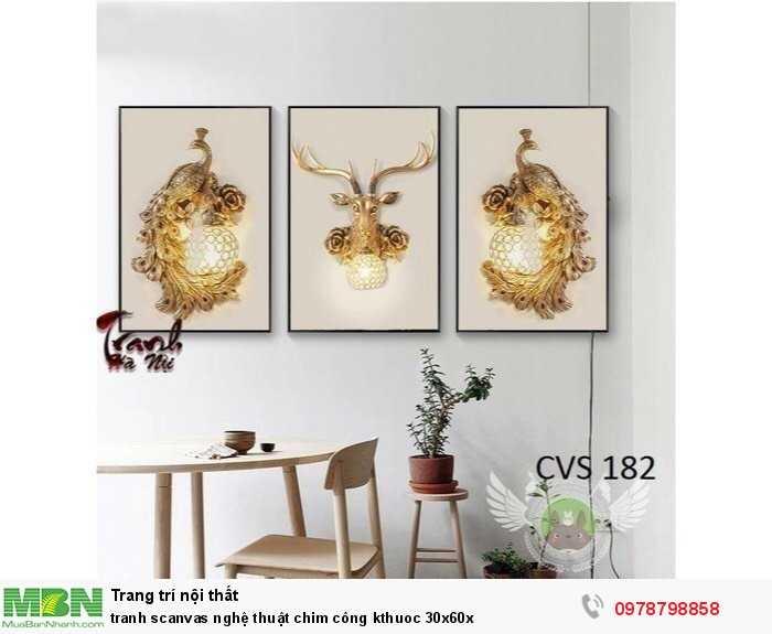 Tranh scanvas nghệ thuật chim công kthuoc 30x60x0
