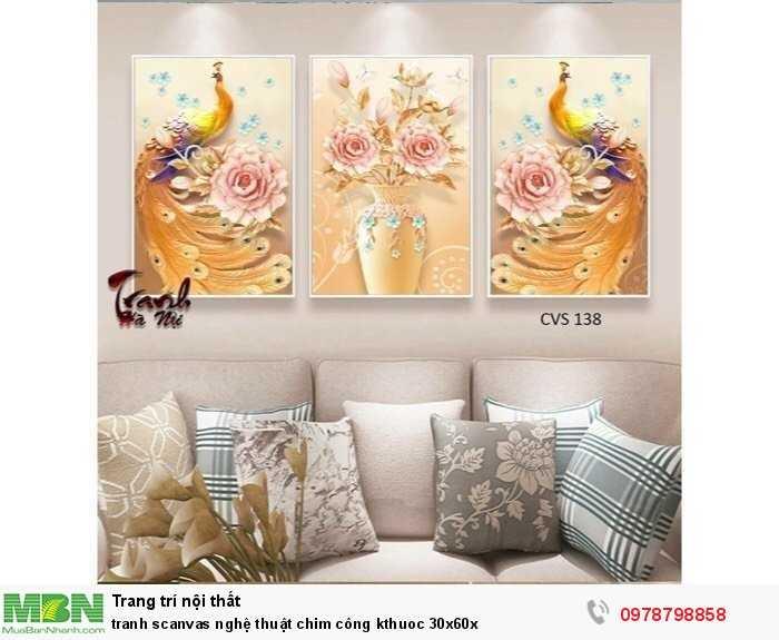 Tranh scanvas nghệ thuật chim công kthuoc 30x60x1