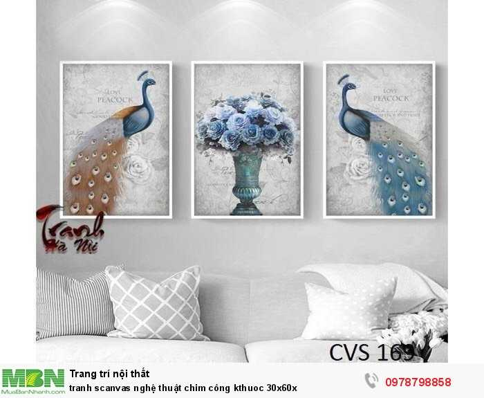 Tranh scanvas nghệ thuật chim công kthuoc 30x60x2