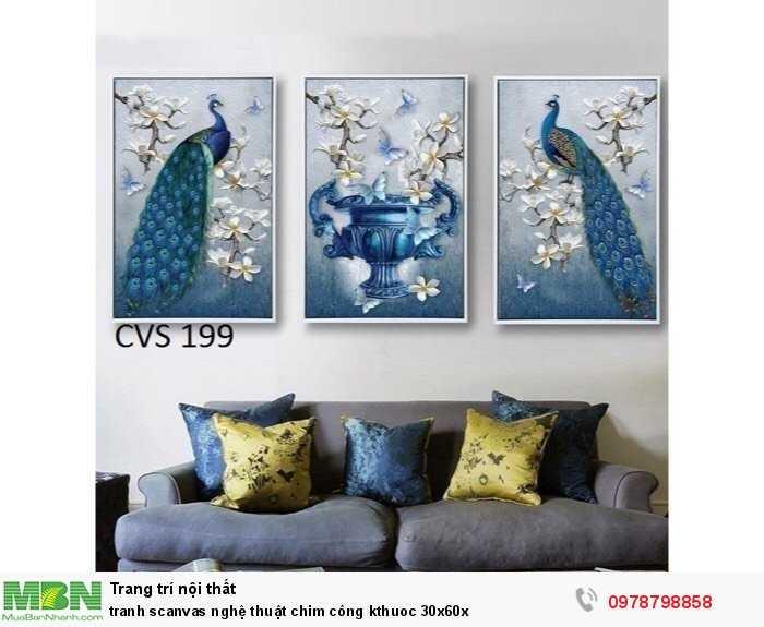 Tranh scanvas nghệ thuật chim công kthuoc 30x60x4