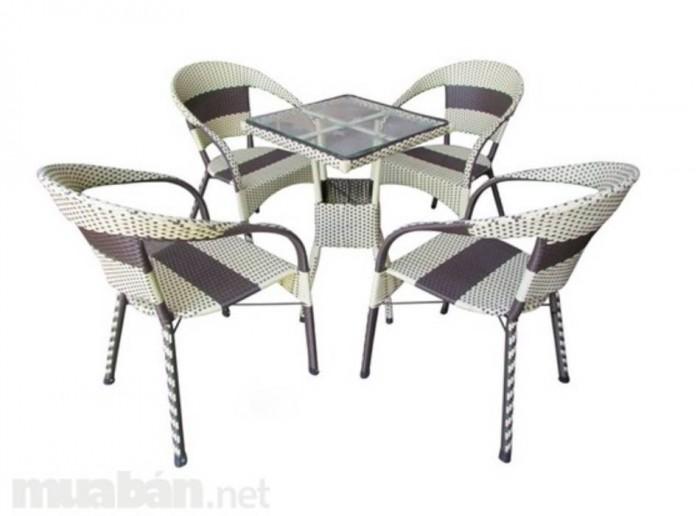 bàn ghế cafe mây nhựa giá rẻ tại xưởng sản xuất HGH 4020