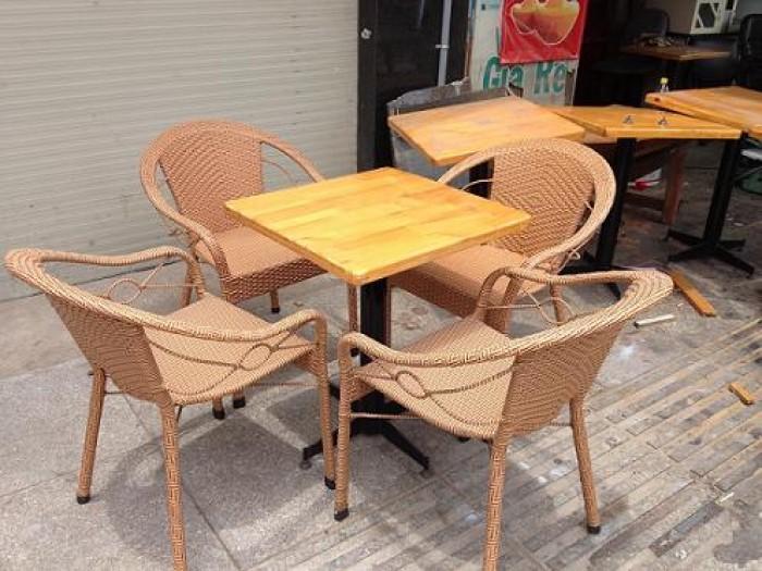 bàn ghế cafe mây nhựa giá rẻ tại xưởng sản xuất HGH 4050