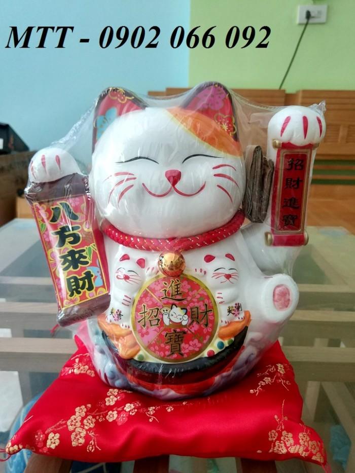 Mèo thần tài vẫy tay gốm sứ cao cấp - 23x24x17cm5