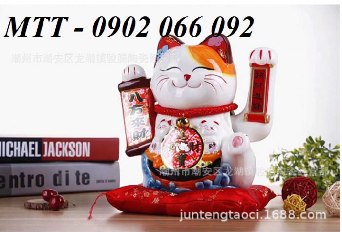 Mèo thần tài vẫy tay gốm sứ cao cấp - 23x24x17cm3