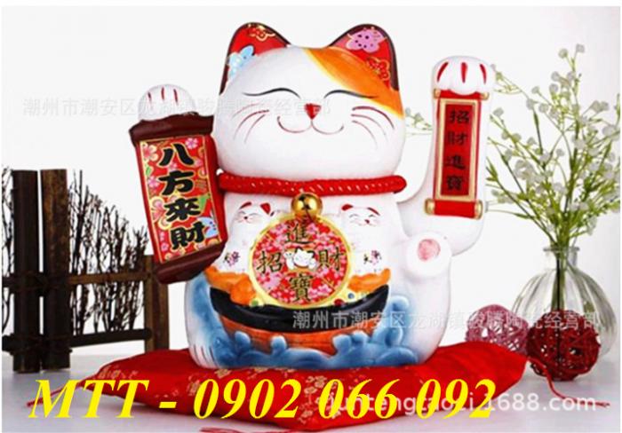 Mèo thần tài vẫy tay gốm sứ cao cấp - 23x24x17cm2