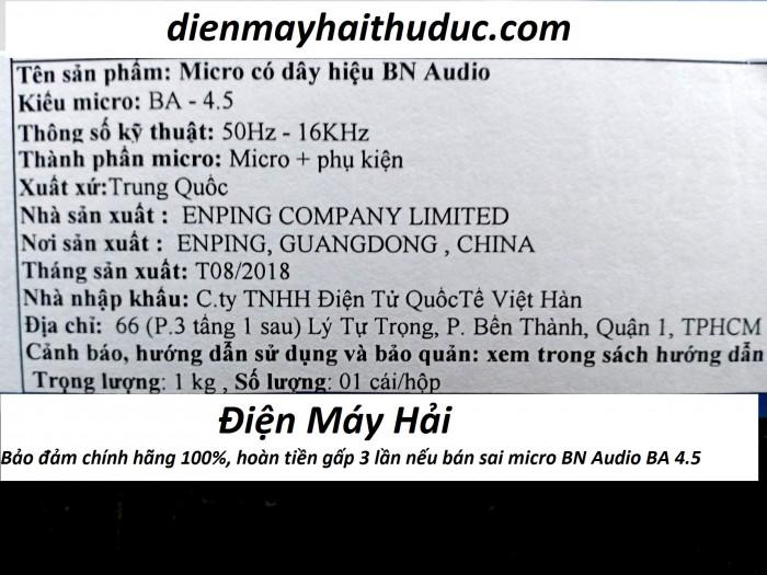 Micro có dây BN AUDIO BA-4.5 chính hãng, Bảo hành 1 năm, giao hàng tận nơi miễn phí.2