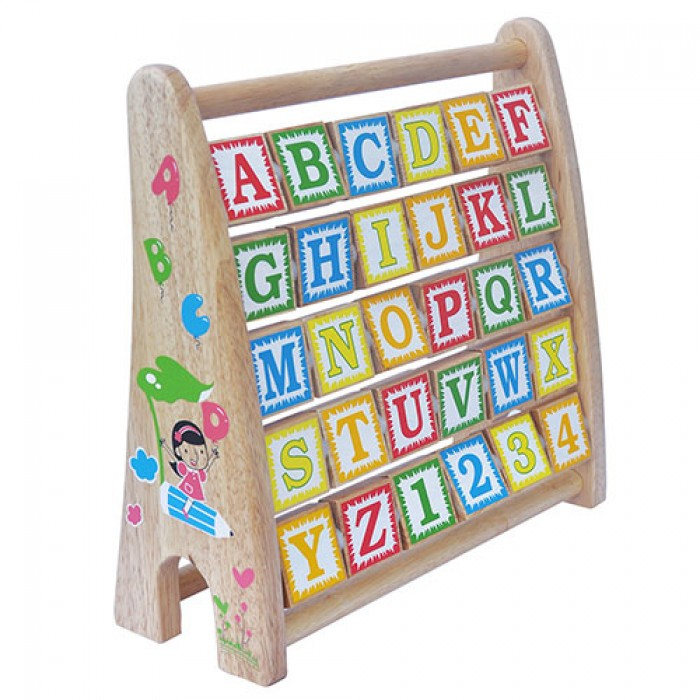 Bảng chữ cái tiếng anh khung xoay bằng gỗ độc đáo cho bé vui học