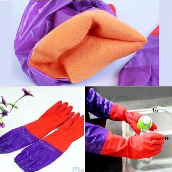 Găng tay rửa bát cao su lót nỉ siêu ấm áp, bảo vệ an toàn đôi tay bạn2
