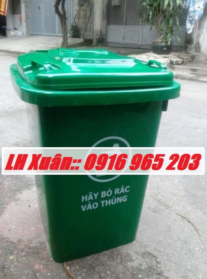 thùng rác 60 lít màu xanh lá0