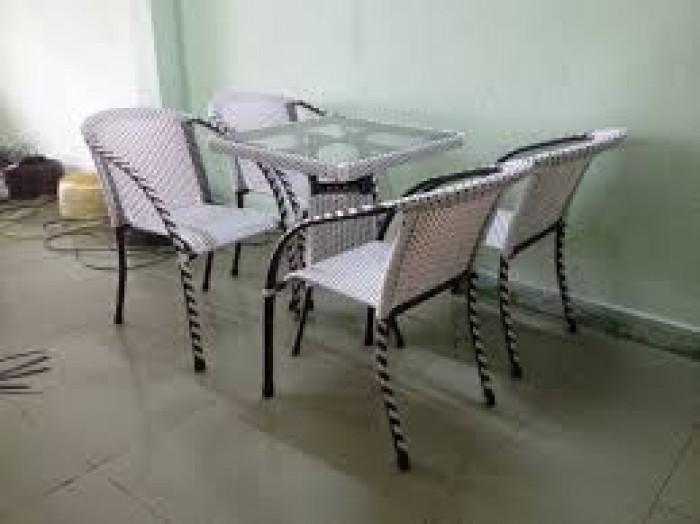 Bàn ghế cafe mây nhựa giá rẻ tại xưởng sản xuất HGH 5790