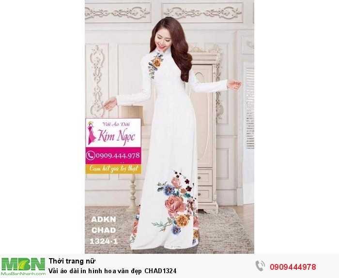 Vải áo dài in hình hoa văn đẹp CHAD13240