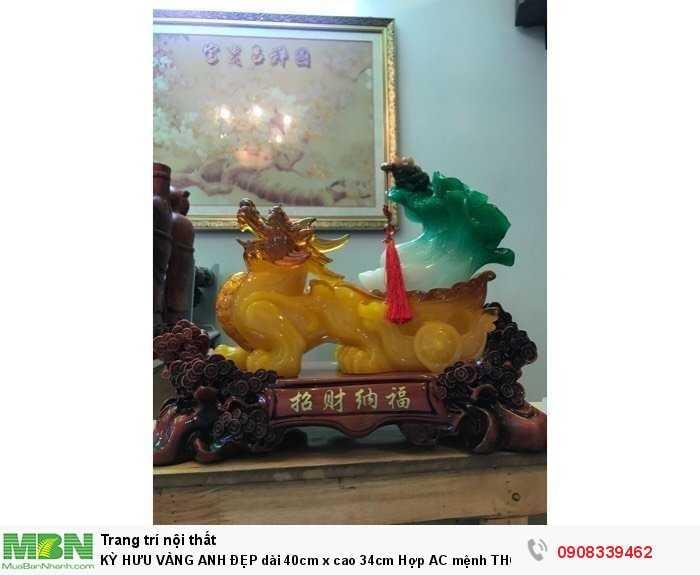 Kỳ Hưu Vàng Anh Đẹp Dài 40cm X Cao 34cm Hợp Mệnh Thổ, Kim1