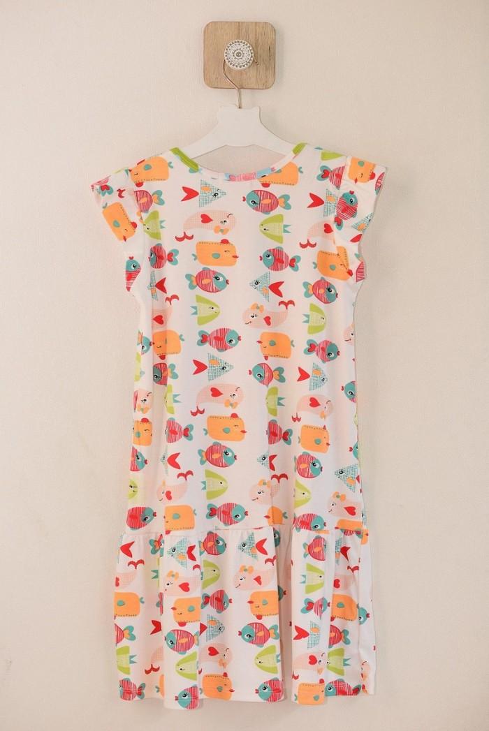 Đầm suông trắng hình đàn cá nhiều màu bơi cho bé gái HIKARI-91