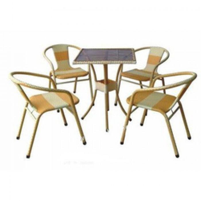 bàn ghế cafe mây nhựa giá rẻ tại xưởng sản xuất HGH 592