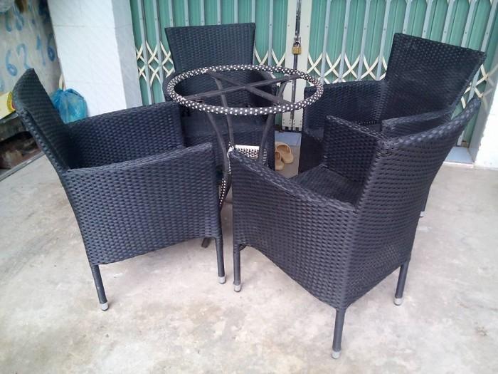 bàn ghế cafe mây nhựa giá rẻ tại xưởng sản xuất HGH 5240