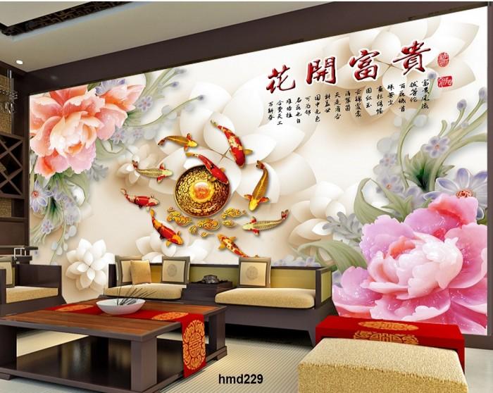 tranh gạch ốp tường cá chép phong thủy K8913