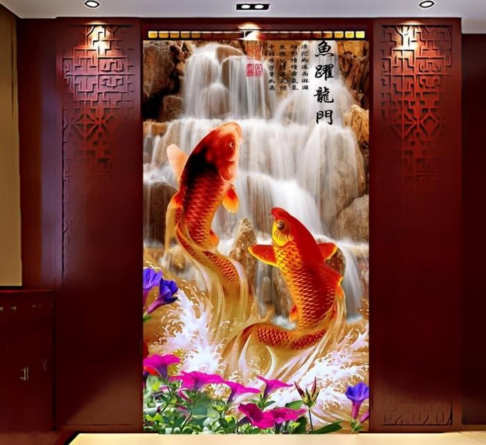 tranh gạch ốp tường cá chép phong thủy K8911