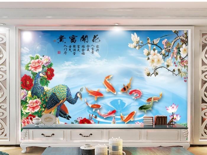 tranh gạch ốp tường cá chép phong thủy K8910