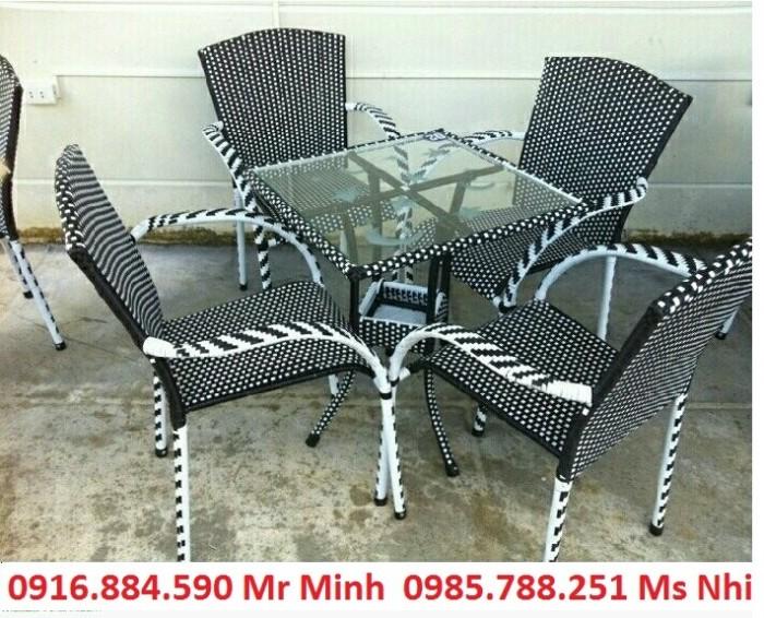 Bàn ghế cafe mây nhựa giá rẻ tại xưởng sản xuất HGH 635