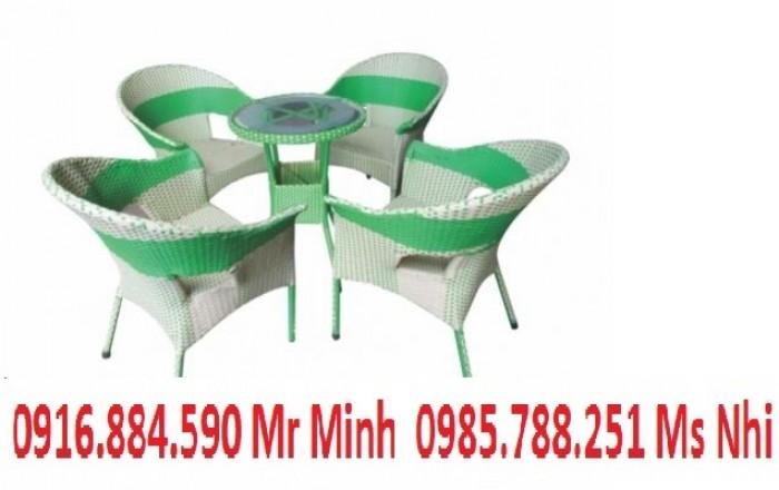 Bàn ghế cafe mây nhựa giá rẻ tại xưởng sản xuất HGH 6390