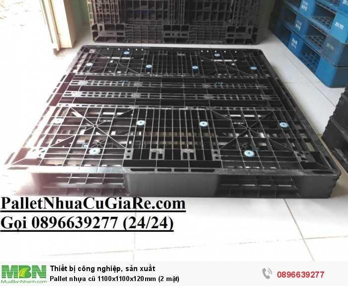 Giá pallet nhựa cũ 1100x1100x120mm (2 mặt) - Gọi 0896639277 (24/24)1