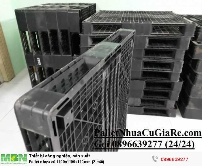 Pallet nhựa cũ 1100x1100x120mm (2 mặt) - Gọi 0896639277 (24/24)2