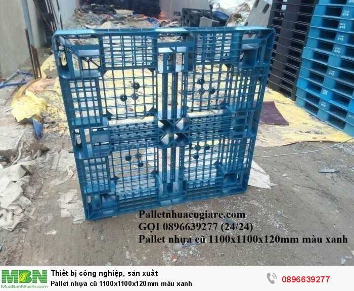 Giá pallet nhựa cũ 1100x1100x120mm màu xanh - Gọi 0896639277 (24/24)