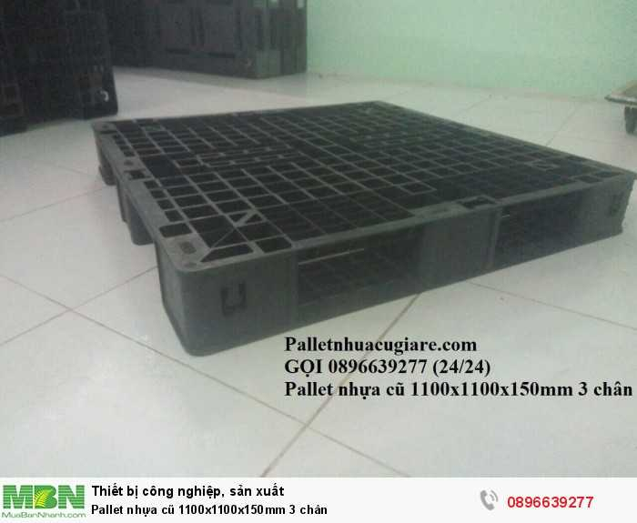 Pallet nhựa cũ 1100x1100x150mm 3 chân - Gọi 0896639277 (24/24)