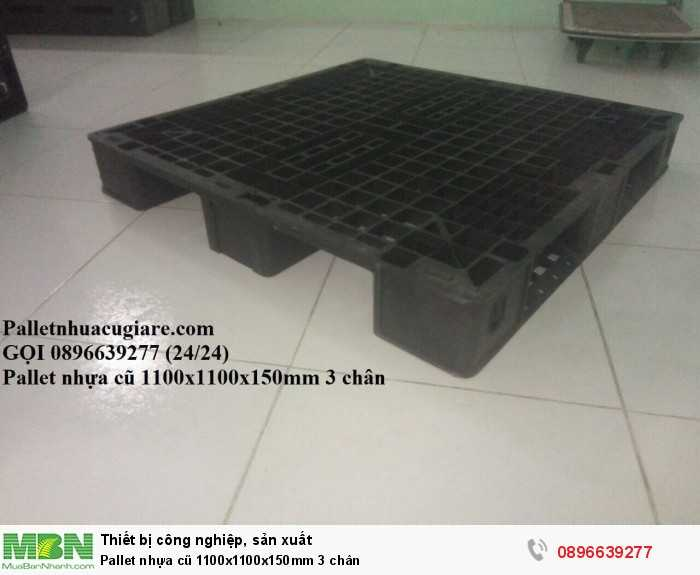 Giá pallet nhựa cũ 1100x1100x150mm 3 chân - Gọi 0896639277 (24/24)